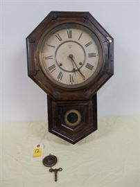 "Antique Wall Clock, Trademark W, 22""x14"", with key and pendulum"