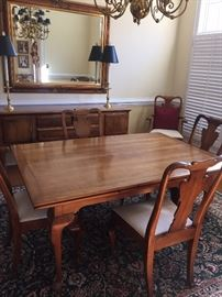 Expansion (leaves underneath) dining table, 6 chairs, sideboard by Statton Furniture