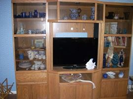 Entertainment Center with great spaces for Display or Storage     (TV shown is Sold)