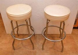 "Pair of Vintage Chrome & Vinyl Bar Stools (Measures approx. 30"" high. Very Good Condition with Some Discoloration)"