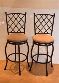 "Set of 4 (only 2 shown) Wrought Iron Bar Stools (Measures approx. 44.5"" high at back, 29"" high at seat. Very Good Condition)"