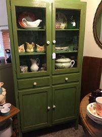 Vintage green cottage cabinet