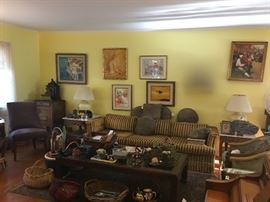 Lots of art, occasional tables, chairs & lamps