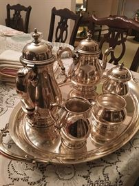 Sterling Silver Tea Set...Tray IS NOT Sterling