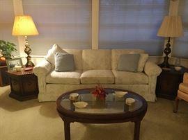 Living room sofa & tables