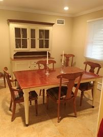 Ethan Allen Country French dining room table, chairs & hutch