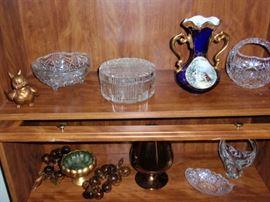 Limoges Veritaele Bleu de Flour Vase and cut glass and crystal