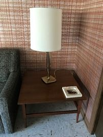 Mid Century Modern Lamp and Large Side Table