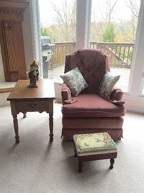 Swivel Rocking Chair, Nice Side Table, Embroidered Foot Stool.