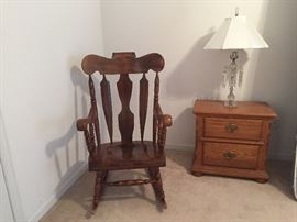 Wood Rocking Chair, Night Stand / Side Table, Nice Crystal Lamp.