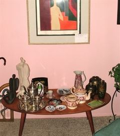 Mid-Century modern coffee table, signed and numbered prints by well-known artist including Salvador Dali, Silver tea set, Items from Bjorn Wiinblad and Nymolle, mid-century decor and so much more!