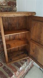 Interior of primitive pine cabinet