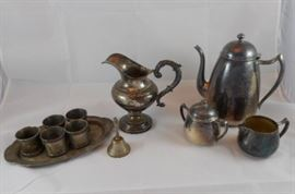 Silver Teapot, Pitcher, Napkin Holders