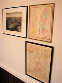 Vintage maps, aerial photos, framed and loose