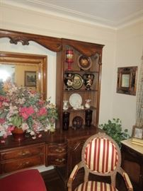 Wall unit and striped chair Not for Sale