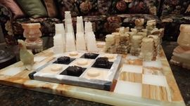 Antique carved Aztec onyx chess set