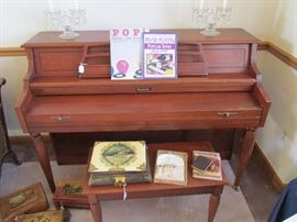 VERY NICE SPINET PIANO WITH MATHCING BENCH