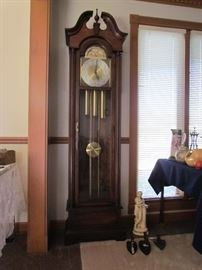 EXQUISITE GRANDFATHER'S TALL CLOCK WITH MOON DIAL, VARIOUS ANTIQUE CAST METAL IRONS, STATUE ETC.