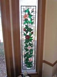 LARGE PAIR OF MATCHING  LEADED FLORAL THEME STAINED GLASS WINDOW PANES