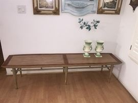 Gorgeous inlaid wood coffee table, measures 6' x 17""