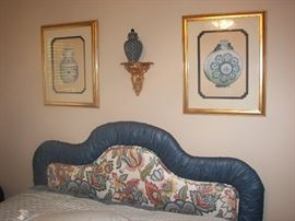 lovely prints w sculpted mats, upholstered queen head board