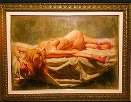 "Tomasz Rut Original Oil on Canvas Nude, 32""x44""-W/appraisal certificate and COA"