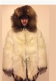 Arctic Timber wolf fur coat