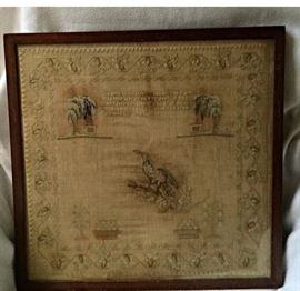 Assortment of antique needlework samplers from the 1800's