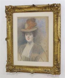 "Lot 476: Jean-Louis Forain, ""Portrait of a Woman"""