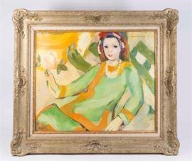 """Lot 475A: Marie Laurencin, """"Femme Aux Perles"""""""