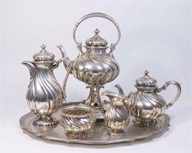 Lot 292: 6-Piece A.C. Franke 800 Silver German Teaset