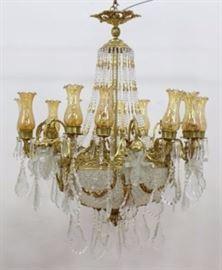 Lot 383: Large 18-Light Bronze Crystal Chandelier