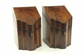 Lot 795: Pair Federal Inlaid Mahogany Knife Boxes