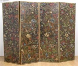 Lot 760: Baroque Style Polychromed Leather 4-Panel Screen
