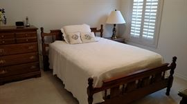 Bedroom Set;  Bed can be set for a full size (as shown) or a queen size mattress.