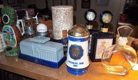 Collectible liquor bottles from American Legion conventions