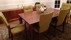 Rosewood Danish Mid Century Modern Dining Room Set