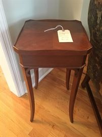 """Hekman side table. 12.75"""" by 12.75"""". 25"""" tall."""