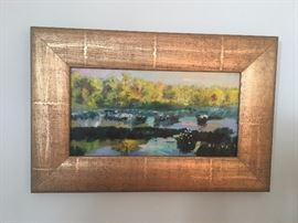 """Julyan Davis oil painting """"Mist on the Cahaba"""". Framed dimensions are 21"""" wide by 14"""" high. Painting dimensions are 14.25"""" wide by 7.25"""" high.-SOLD!"""
