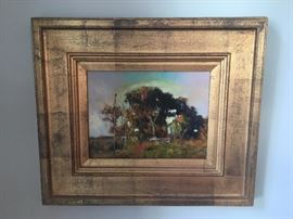 """Julyan Davis original oil painting """"House Under Live Oaks"""". Framed dimensions are 21"""" wide by 18"""" tall. Painting dimensions are 11.5"""" wide by 8.5"""" tall.-SOLD!"""