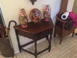 Antique oak hall table