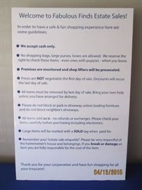 some guidelines for your shopping convenience