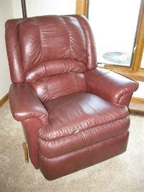 Dark burgundy recliner leather