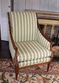 Triton Chair, Pink & Green Striped Upholstery, from Walter E. Smithe