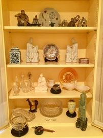Decorative statues, crystal and pottery