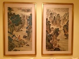 Large pair of Chinese paintings