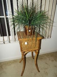 Really cute rattan stand & plant