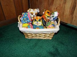 Basket of needlework pets - no feeding necessary!