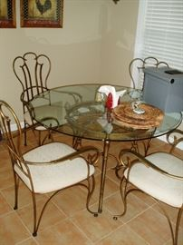 Glass/Iron Table and Chairs