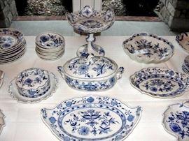 Large Collection of Meissen Porcelain Blue Onion Pattern